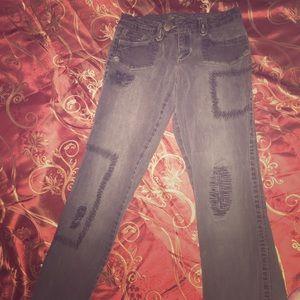 Denim - Embroidered Straight Leg Grey/Black jeans